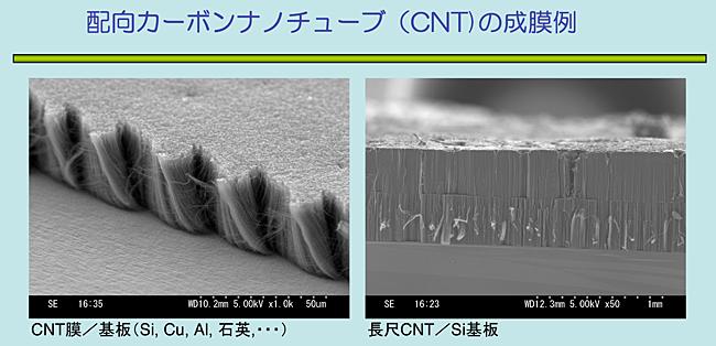 配向カーボンナノチューブ(CNT)の成膜例